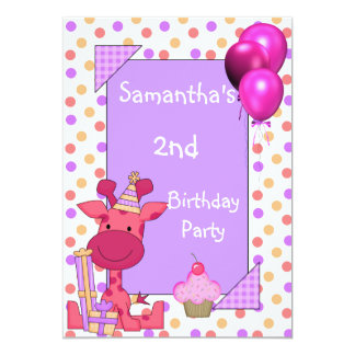 2nd Birthday Spots Giraffe Cupcake Balloons Mauve Card