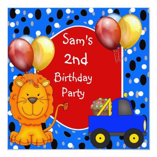 2nd Birthday Spots Lion Truck Cupcake Balloons Card