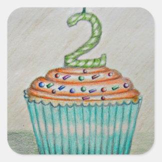 2nd birthday square sticker