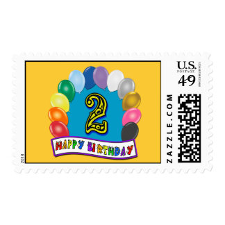2nd Birthday Stamp with Assorted Balloons Design