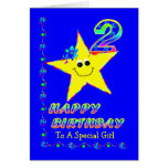 2nd Birthday Star for Girl Card
