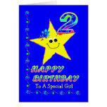 2nd Birthday Star for Girl Card