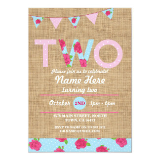 2nd Birthday Tea Party Two 2 Burlap Rose Invite