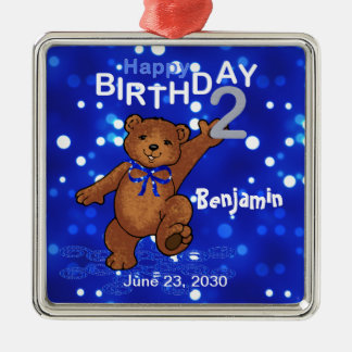 2nd Birthday Teddy Bear Keepsake Square Metal Christmas Ornament