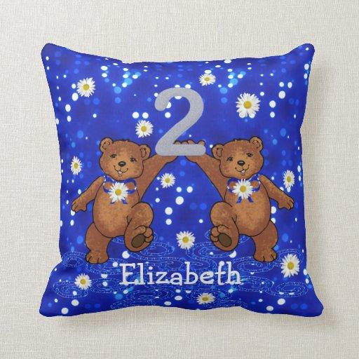 2nd Birthday Teddy Bears Throw Pillows
