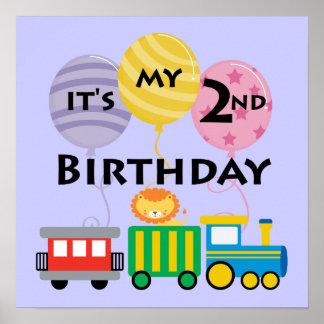 2nd Birthday Train Birthday Poster