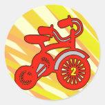 2nd Birthday Trike Classic Round Sticker