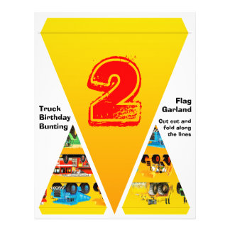 2nd Birthday Truck Flag Garland / Bunting Personalized Flyer