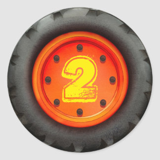 2nd Birthday Truck Party Round Sticker