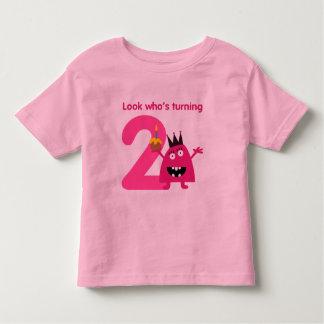 2nd Birthday Tshirt Cute Pink Monster