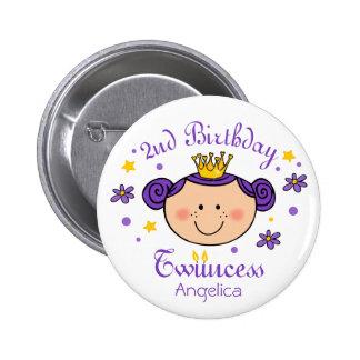 2nd Birthday Twincess Button