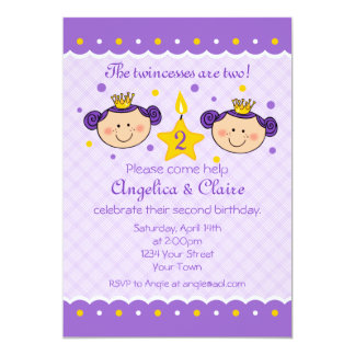 2nd Birthday Twincess Party Invitation