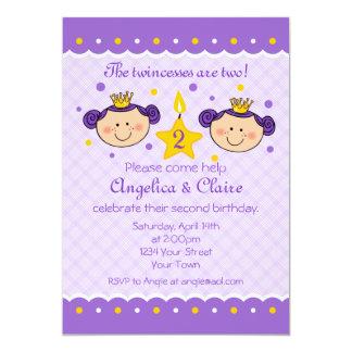 "2nd Birthday Twincess Party Invitation 5"" X 7"" Invitation Card"