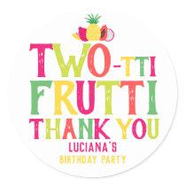 2nd Birthday Two-tti Frutti Fruit Thank You Classic Round Sticker