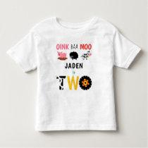 2nd Birthday Two Year Old Farm Birthday Toddler T-shirt