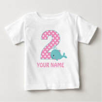 2nd Birthday Whale Girl Personalized T-shirt
