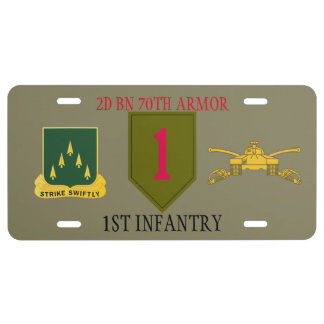 2ND BN 70TH ARMOR 1ST INFANTRY LICENSE PLATE