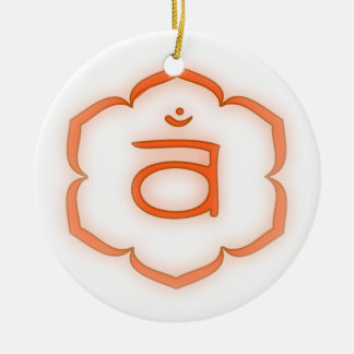 2nd Chakra - Svadhisthana Double-Sided Ceramic Round Christmas Ornament