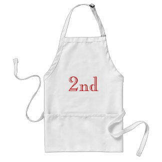2nd. Custom Text. Red and White. Adult Apron