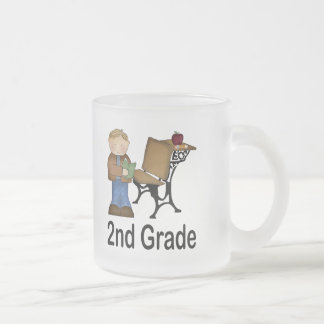 2nd Grade Boy and Desk 10 Oz Frosted Glass Coffee Mug