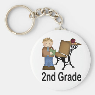 2nd Grade Boy and Desk Key Chain