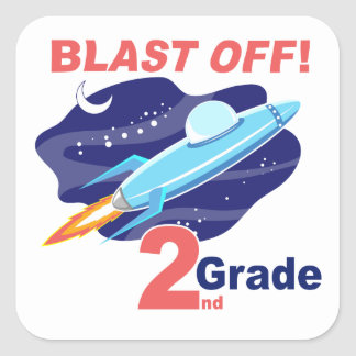 2nd Grade Outer Space Square Sticker