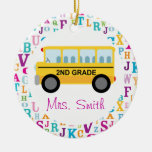 2nd Grade Personalized School Bus Teacher Ornament