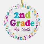 2nd Grade Personalized School Teacher Ornament