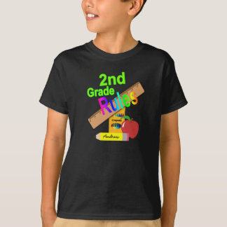 2nd Grade Rules In Green T-Shirt