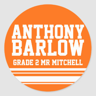 2nd Grade school education name id sticker orange
