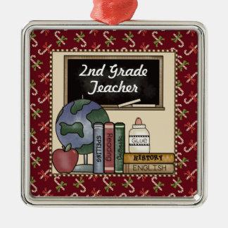 2nd Grade Teacher Christmas Keepsake Square Metal Christmas Ornament