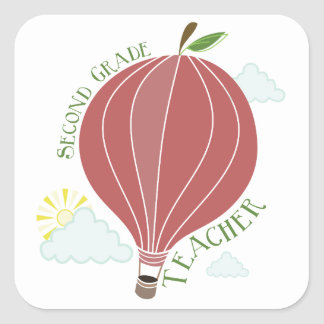 2nd Grade Teacher Hot Air Balloon Apple Square Sticker
