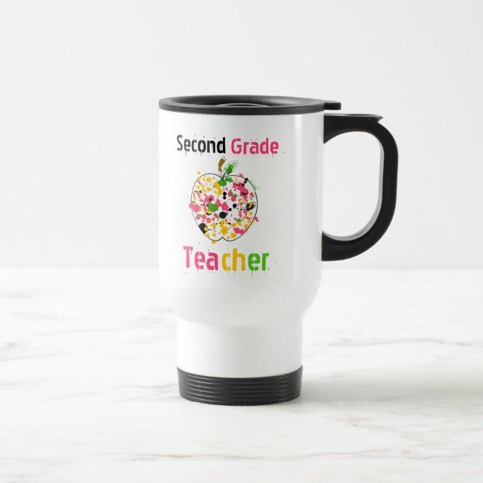 2nd Grade teacher paint splatter apple Mug