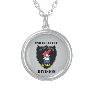 2nd Infantry Division - Imjin Scouts With Text Round Pendant Necklace