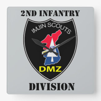 2nd Infantry Division - Imjin Scouts With Text Square Wall Clock