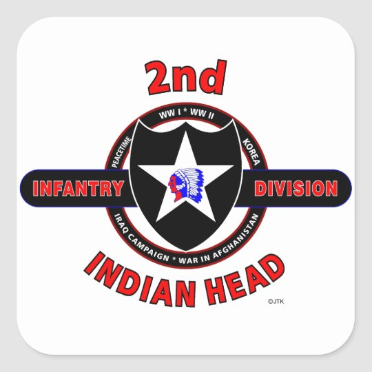 "2ND INFANTRY DIVISION ""INDIAN HEAD"" SQUARE STICKER"