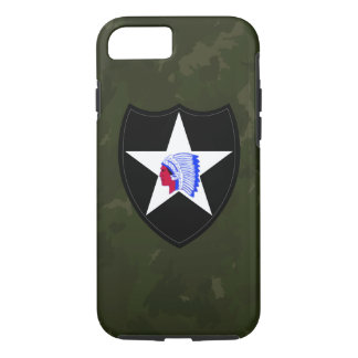 """2nd Infantry Division """"Second to None"""" Army Green iPhone 7 Case"""