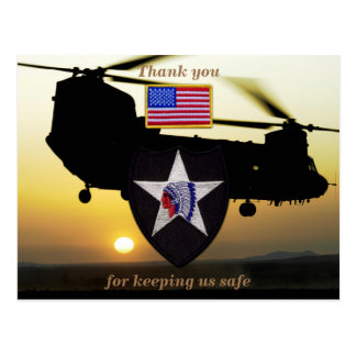 2nd infantry indianhead veterans vets patch postcard