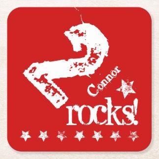 2nd KIDS Birthday Diagonal Design Grunge Stars Z02 Square Paper Coaster