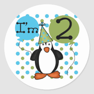 2nd Penguin Birthday Tshirts and Gifts Classic Round Sticker