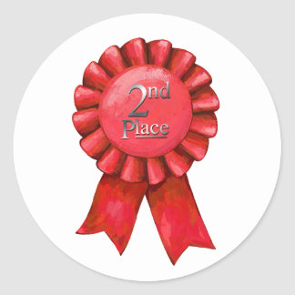 2nd Place Ribbon Award Stickers Round Sticker