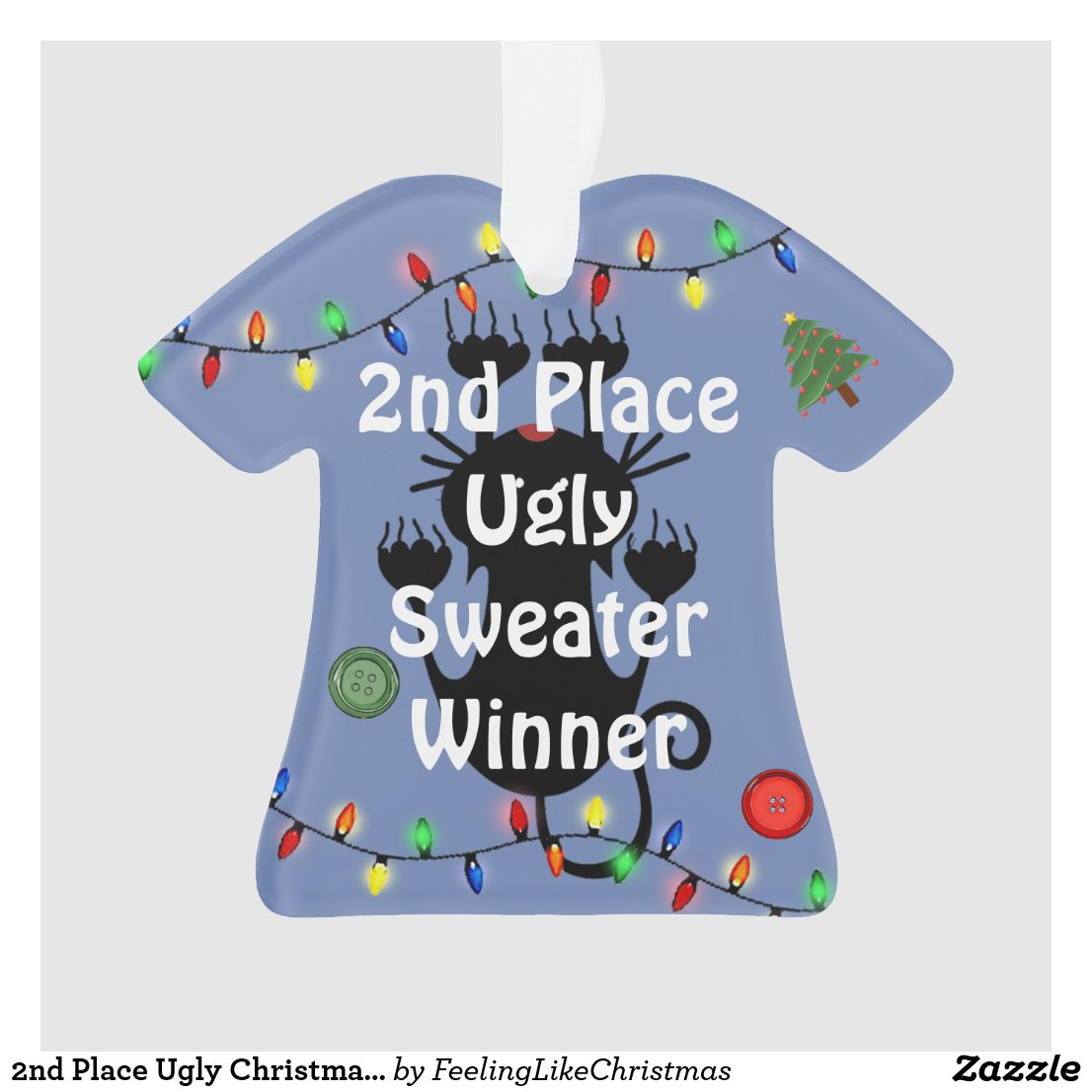 2nd Place Ugly Christmas Sweater Contest Ornament