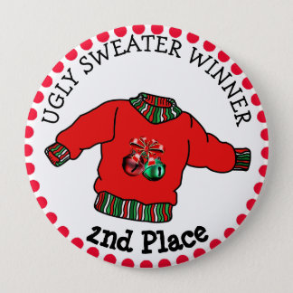 2nd Place Ugly Sweater Winner Christmas Gold Medal Button
