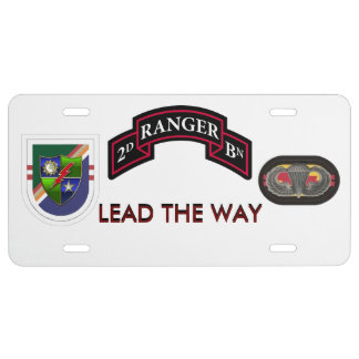2ND RANGER BATTALION LICENSE PLATE WITH SSI, FLASH