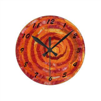 2nd-Sacral Chakra Orange Fabric- Paint #2 Round Clock