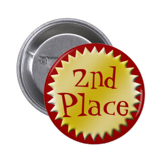 2nd Second Place Award Button, Customizable Pinback Button