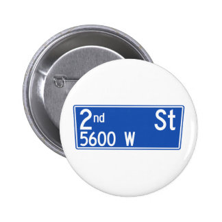 2nd Street, Los Angeles, CA Street Sign Pinback Button