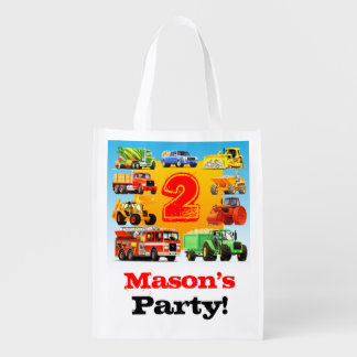 2nd Truck Birthday Party Reusable Grocery Bag