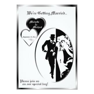 2nd Version Classic Black White Wedding Invitation