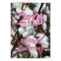 2nd wedding anniversary card - Cotton